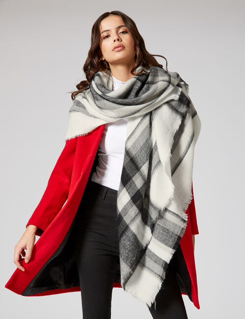 écharpe plaid écrue, noire et grise