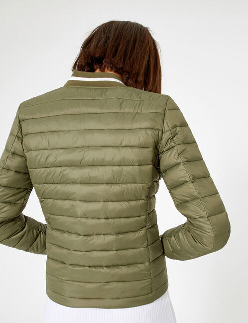 Khaki padded jacket with striped edging detail