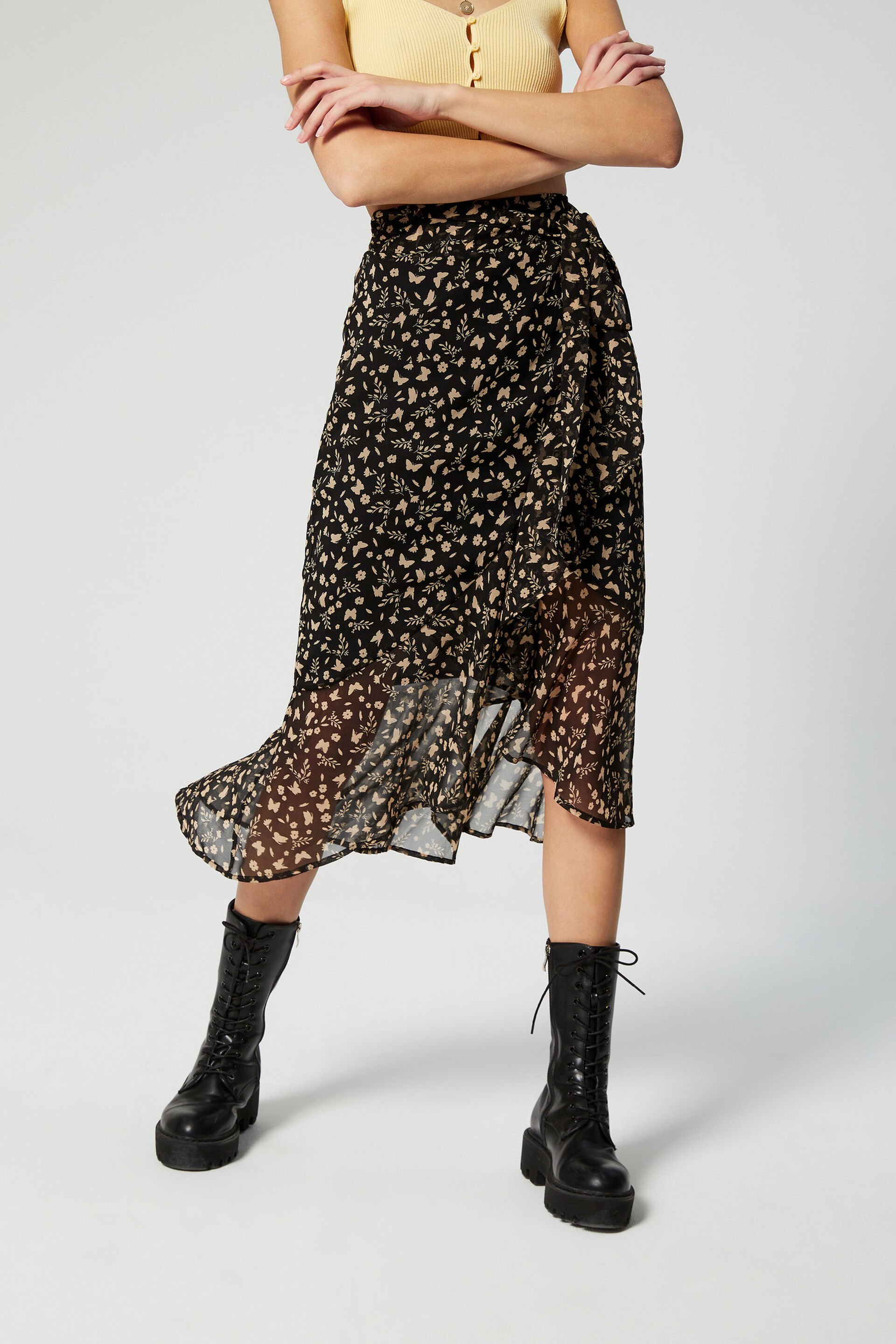 Floral mid-length skirt