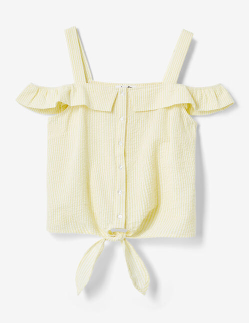 Light yellow and cream striped tie-fastening blouse