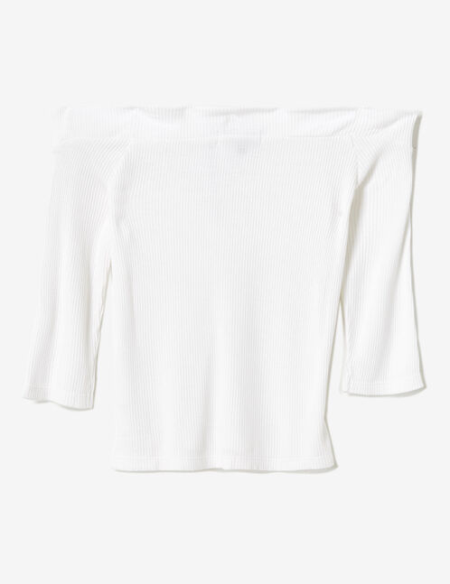 White off-the-shoulder zipped top