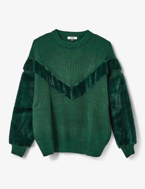 pull bi-matière vert