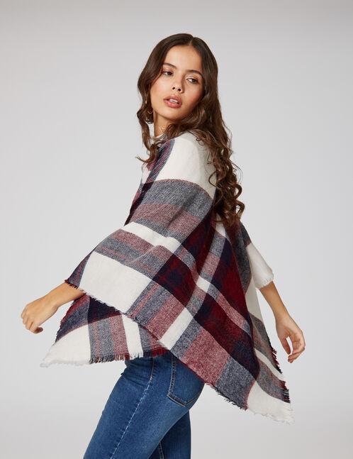 Cream, navy blue and burgundy tartan scarf