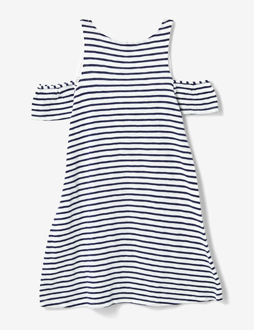 robe rayée avec dentelle bleu marine et écrue