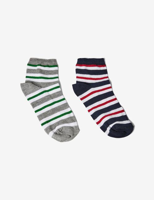Navy blue, burgundy, white, green and grey striped socks
