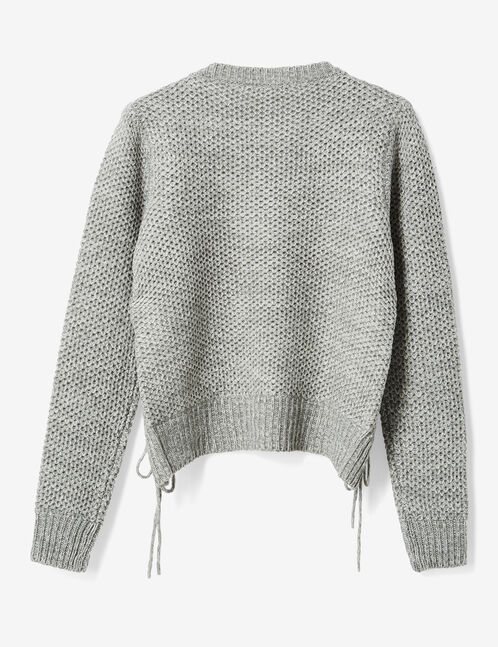 pull avec laçages gris chiné