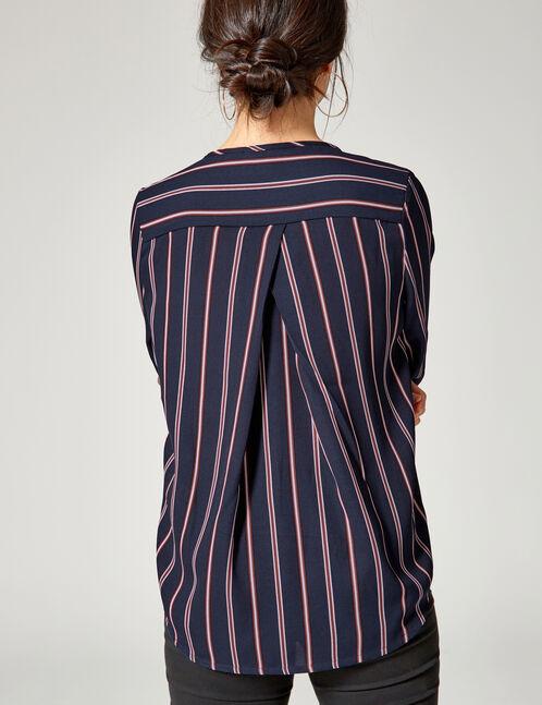 blouse rayée bleu marine, rouille et bleue