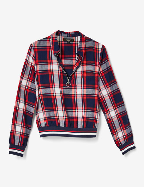 Burgundy, navy blue and white checked zipped blouse