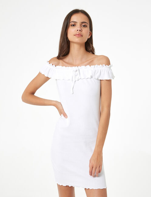 fitted dress with frill detail