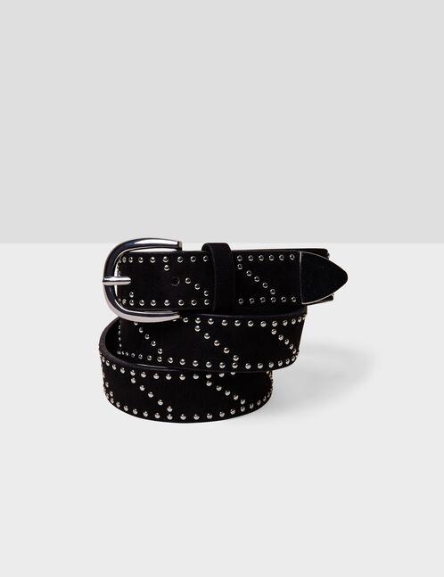 ceinture suédine cloutée noire