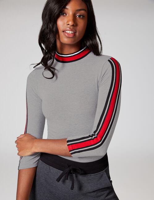 Grey marl bodysuit with striped trim detail