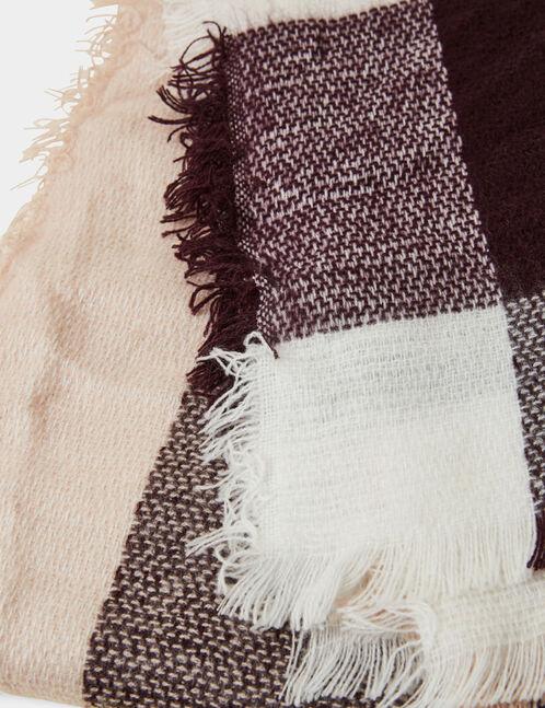 écharpe plaid bordeaux, rose clair et blanc