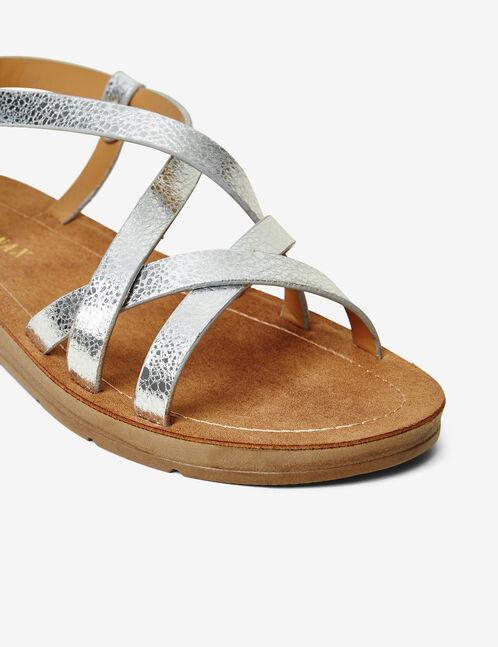 sandales plates avec liens argentées