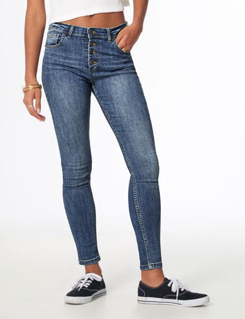 Medium blue high-waisted buttoned jeans