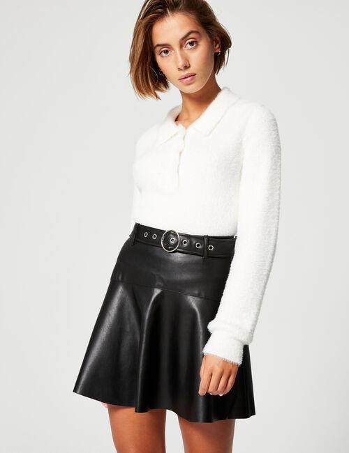 Imitation-leather A-line skirt