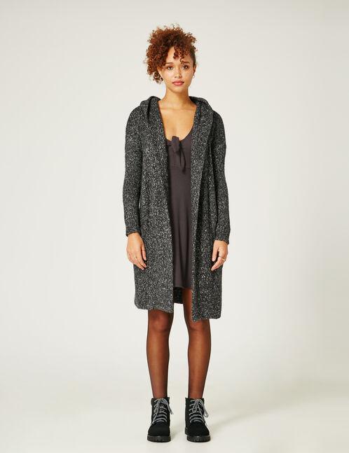 Charcoal grey marl longline hooded cardigan