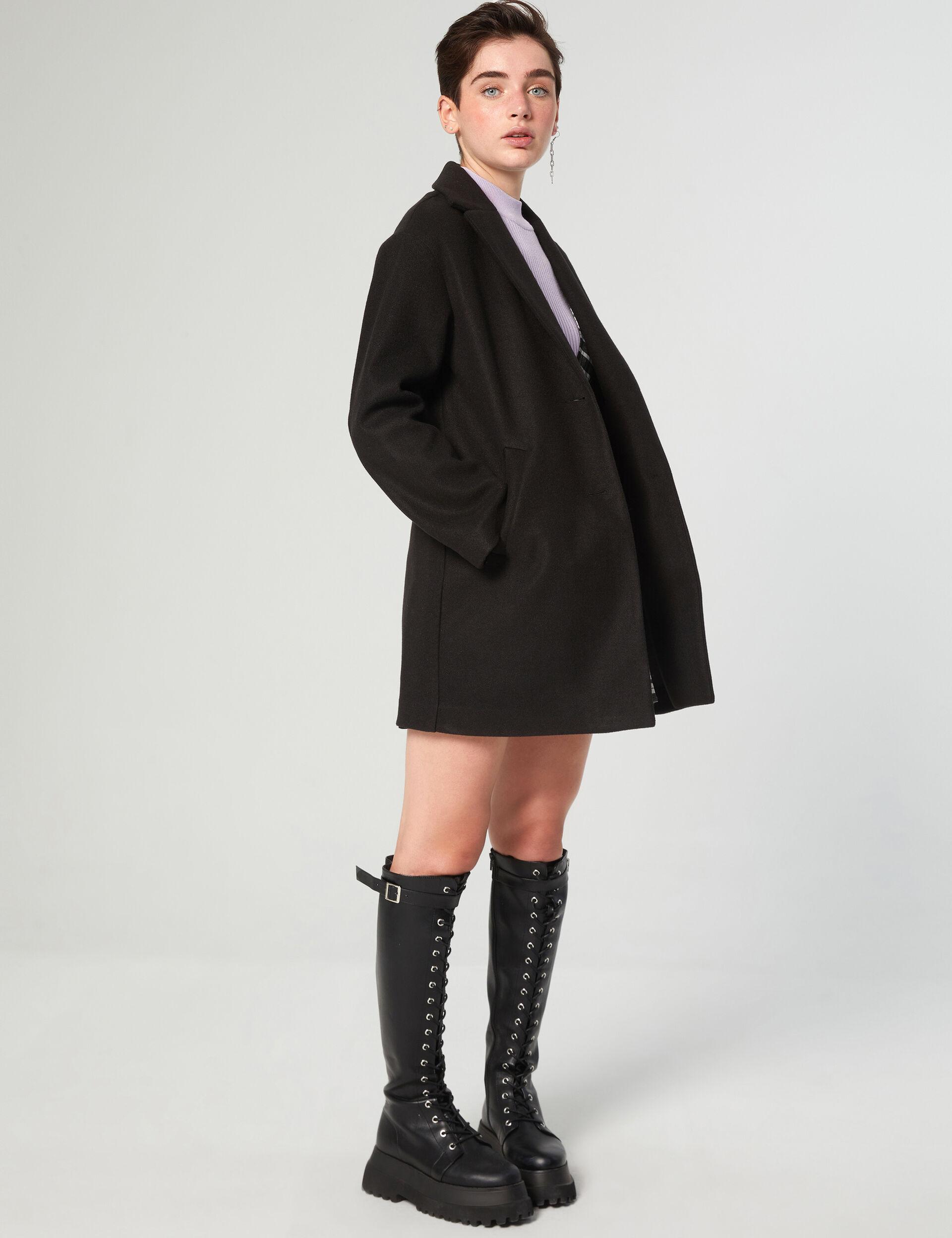 Loose-fit mid-length coat