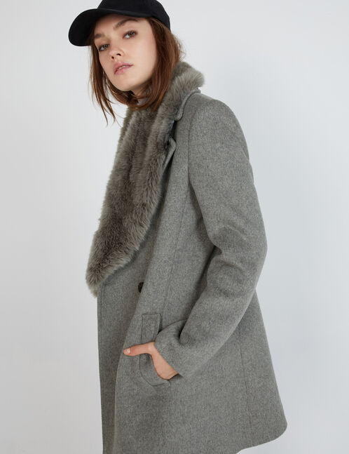 Grey marl pea coat with faux fur detail