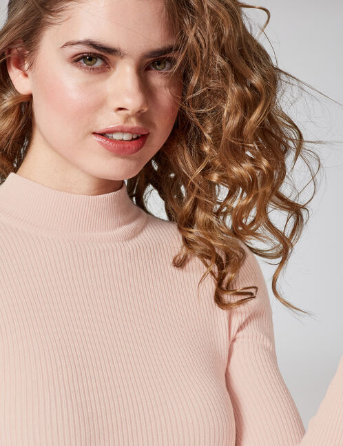 pull côtelé rose clair