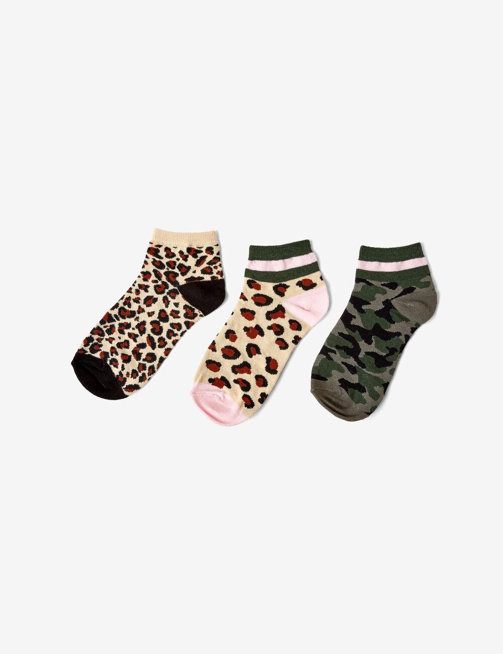 ebe65f7fa37 Chaussettes léopard et camou beiges