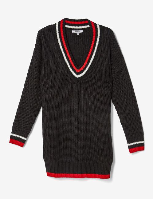 Long black, white and red V-neck jumper
