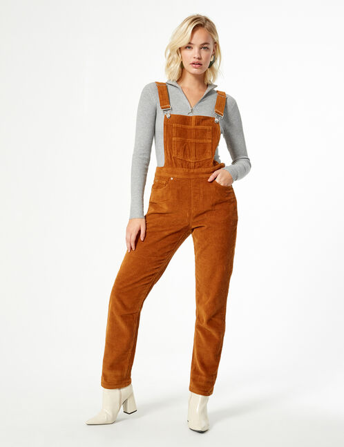 straight fit ribbed dungarees