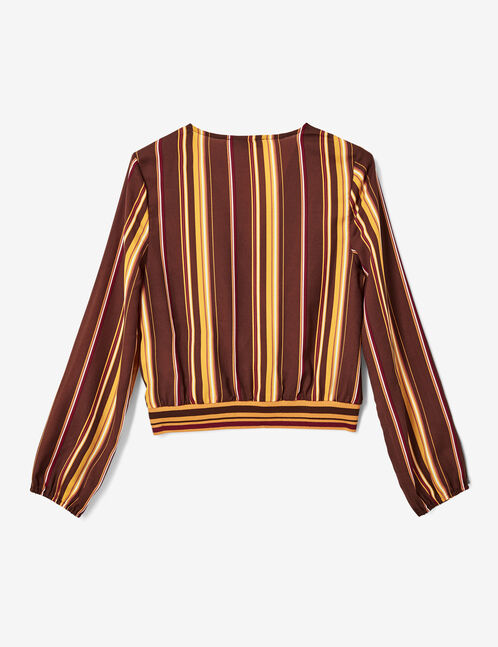Brown, burgundy, orange, ochre and white striped wrap blouse