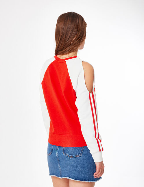 Red and cream two-tone sweatshirt with text design detail