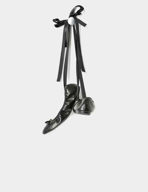 Black lace-up ballet pumps