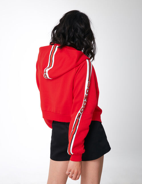 sweat à capuche zippé rouge