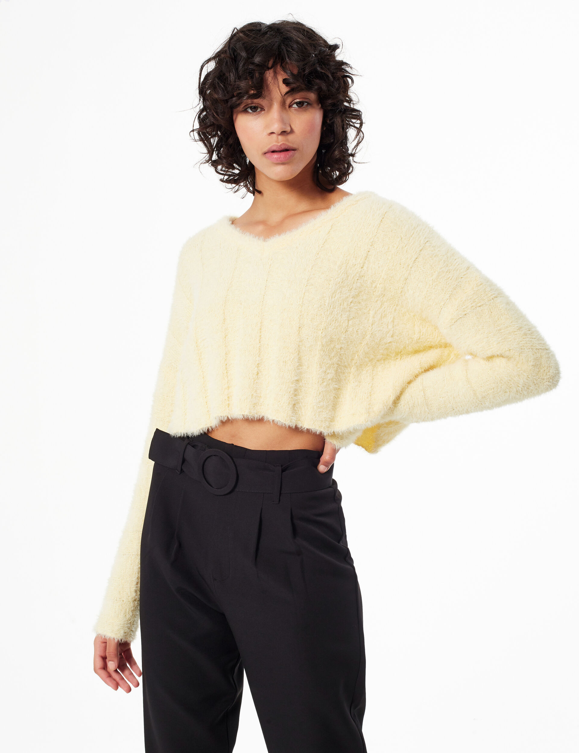 Cropped mohair-effect jumper
