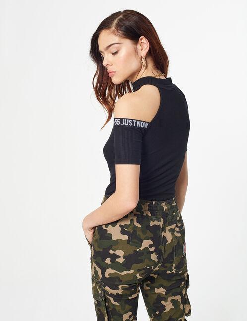 zipped high-nick T-shirt