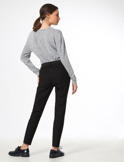 Black and white tailored trousers with stripe detail