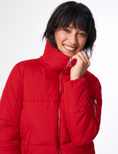 Red high-neck quilted jacket