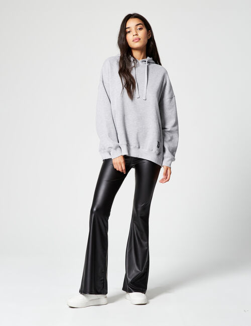 Imitation-leather flared trousers