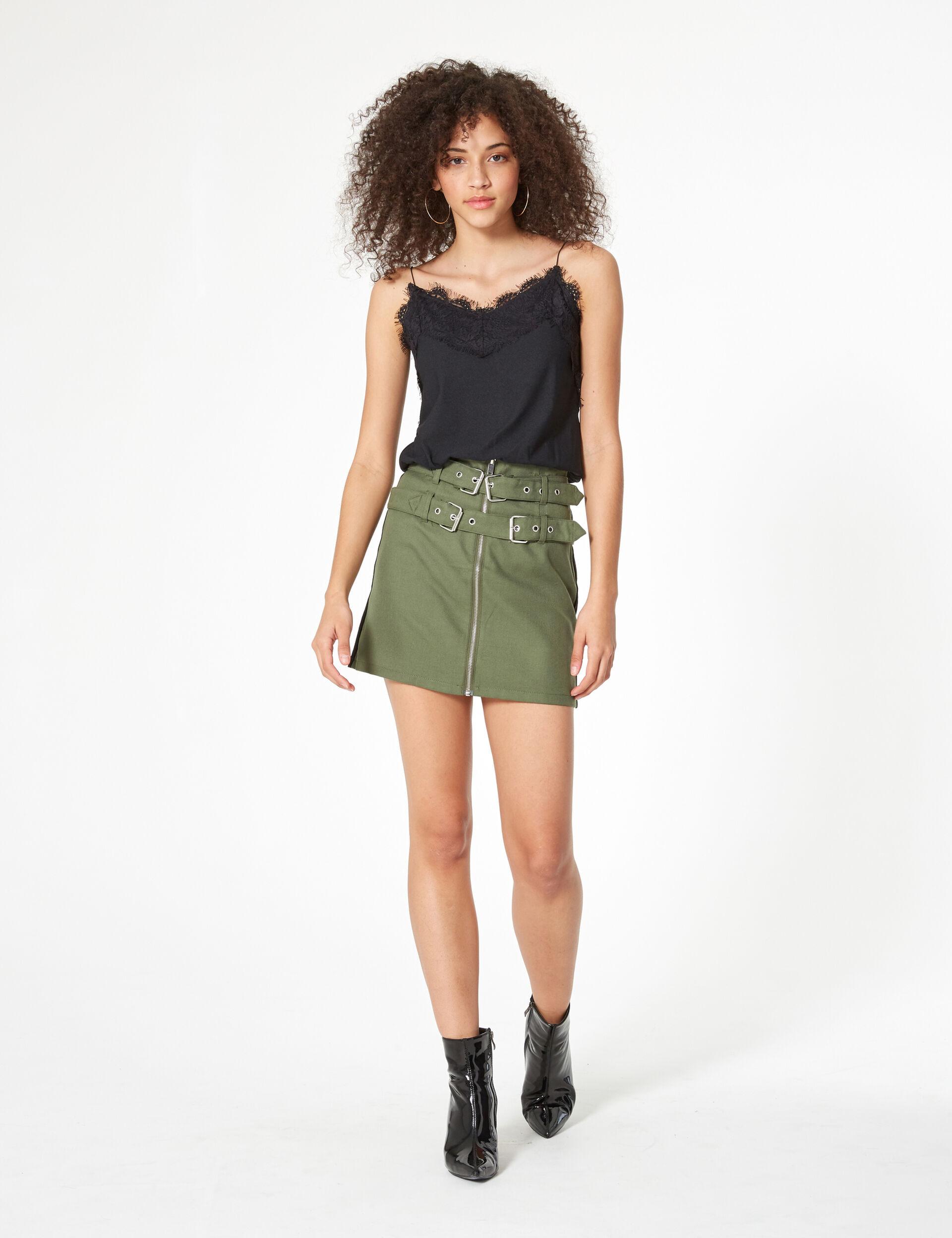 Jupe zippée avec ceinture kaki
