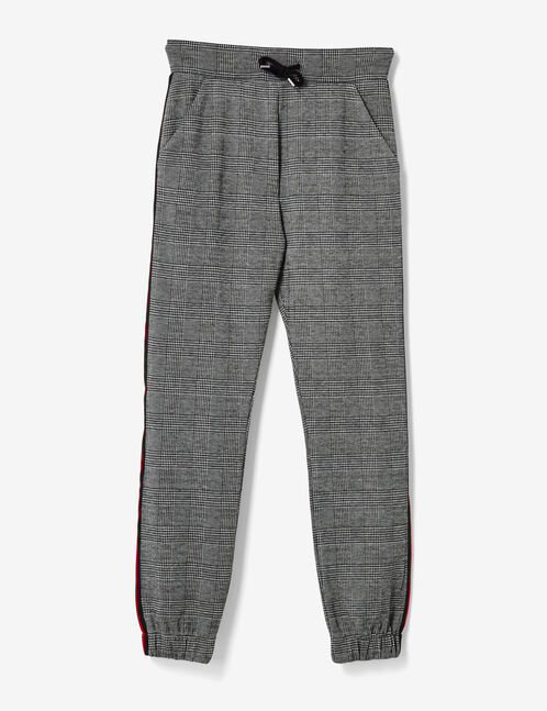Black and grey glen check joggers