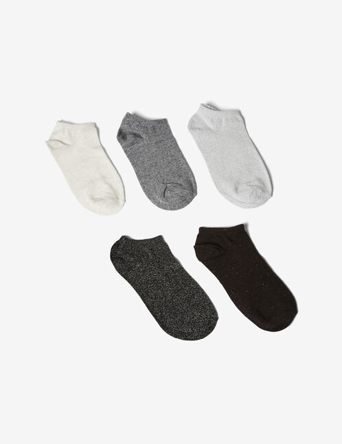 Black, grey and beige socks with lurex detail