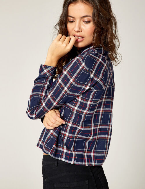Navy blue checked shirt