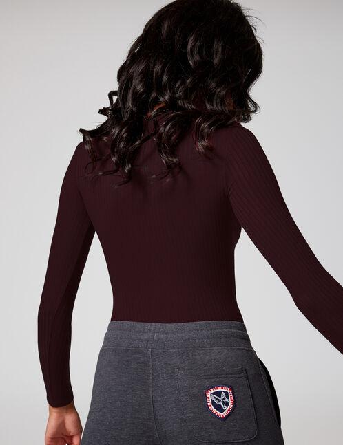Plum bodysuit with press-stud detail
