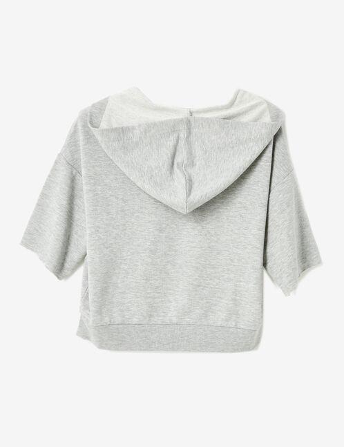 Grey marl hoodie with lacing detail