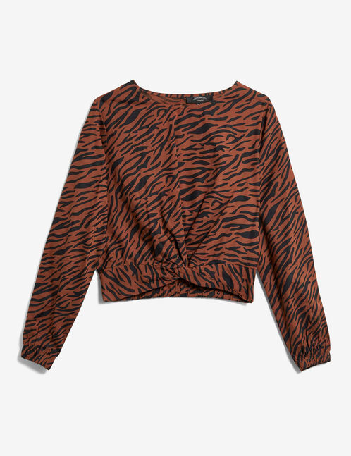 Camel and black leopard print blouse with knot detail