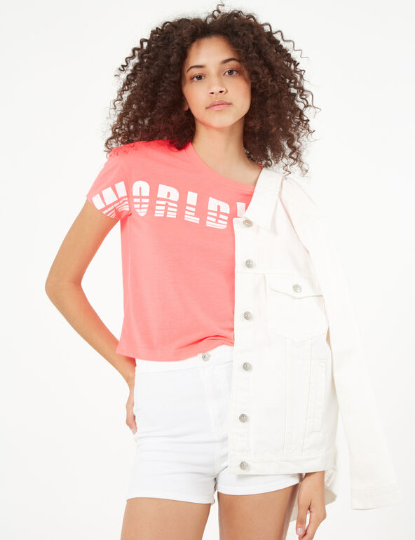 "Neon pink and white ""worldwide"" t-shirt"