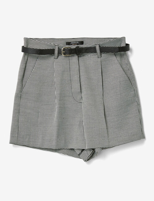 Black and white puppytooth shorts