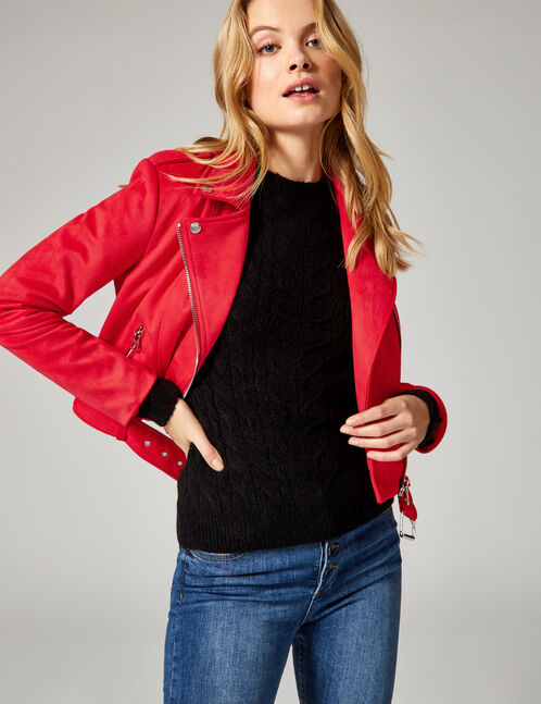 Red faux suede biker jacket