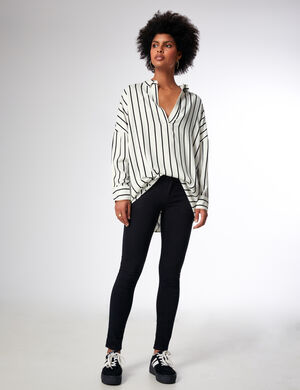 chemise longue rayée blanche
