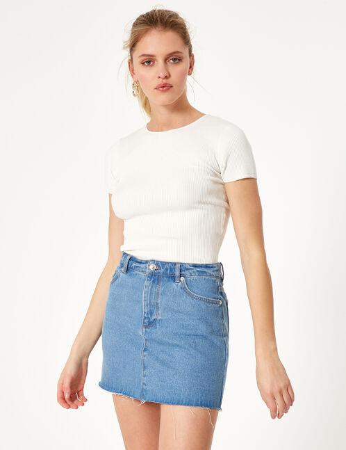 Cream ribbed T-shirt