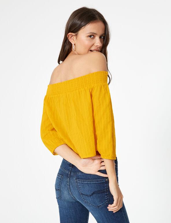 Ochre off-the-shoulder blouse