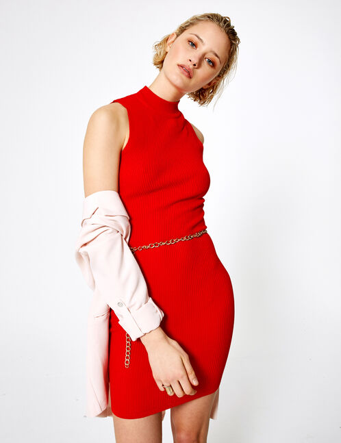 Sleeveless red jumper dress