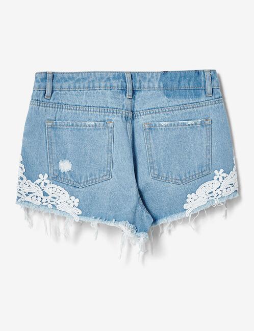 short en jean avec dentelle bleu clair